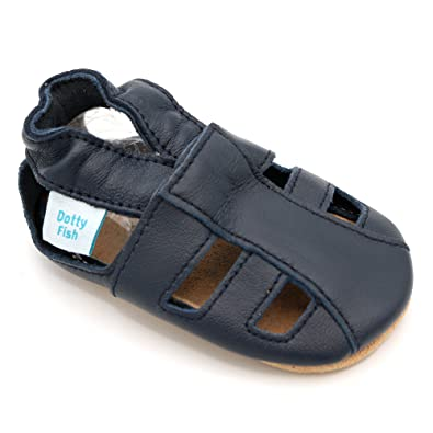 e4fe7af46 Dotty Fish Soft Leather Baby Shoes with Suede Soles. Toddler Sandals. Boys    Girls
