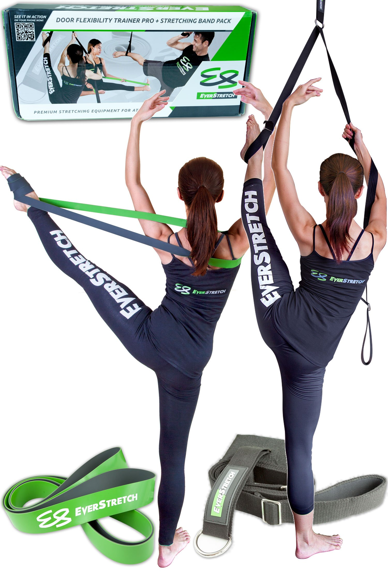 Dance Stretcher Gift Pack: Door Flexibility Trainer PRO + Stretching Band by EverStretch: Premium Stretching Equipment for Ballet and Dance. Our best Leg Stretcher and Ballet Stretch Band in giftbox. by EverStretch