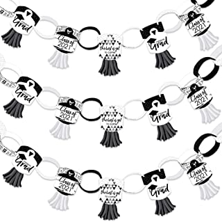 product image for Big Dot of Happiness Black and White Grad - Best is Yet to Come - 90 Chain Links and 30 Paper Tassels Decoration Kit - 2021 Black and White Graduation Party Paper Chains Garland - 21 feet