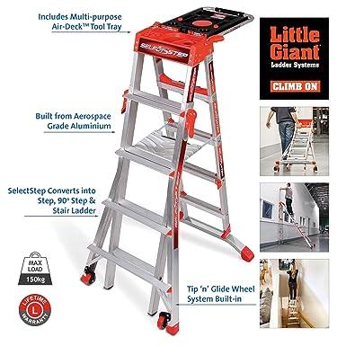 Little Giant SelectStep 5 - Escalera de 8 peldaños con bandeja AirDeck (1,60 m de altura máxima): Amazon.es: Industria, empresas y ciencia