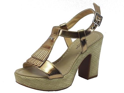 Sandali per donna NeroGiardini colore oro tacco alto