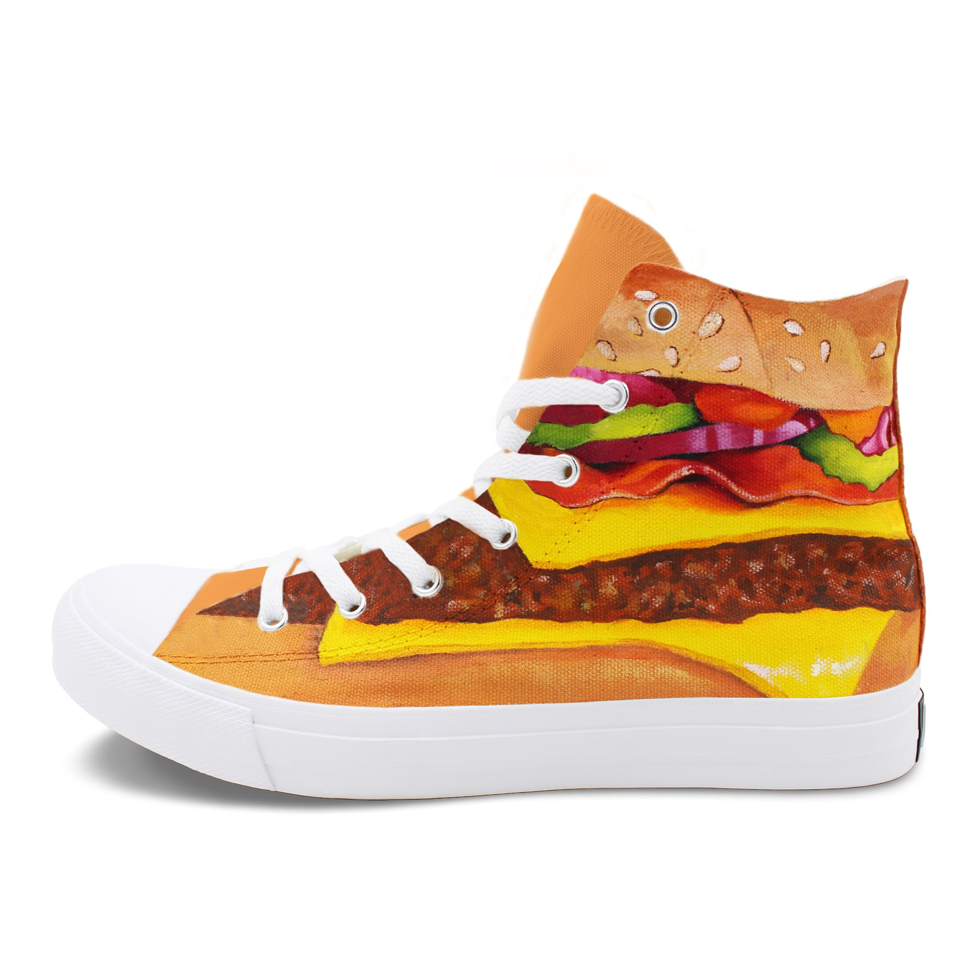 Wen Fire Hand Painted Shoes Hamburger Western Fast-food Unisex Canvas Sneakers