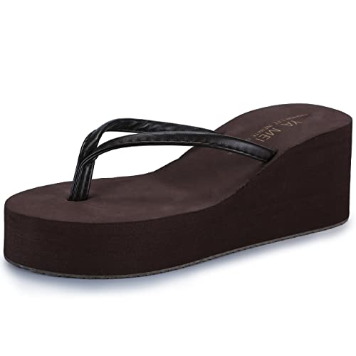 6a7663c3d Difyou IDIFU Women s Thong High-Heeled Platform Wedge Flip Flops Sandals  Brown 4 B(