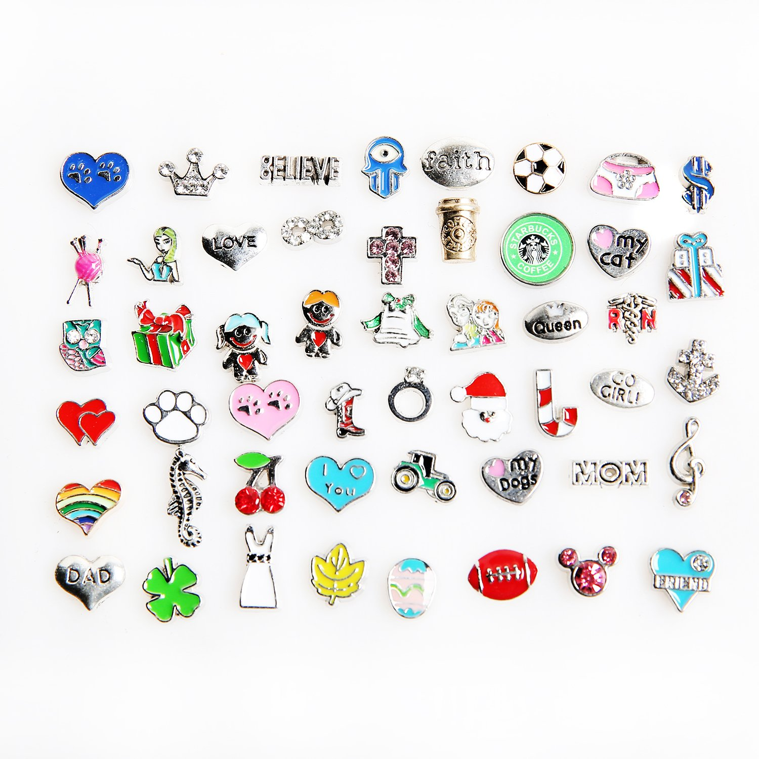 a13f4f182 Amazon.com: 50 Pcs Mixed Random Floating Charms for Glass Living Memory  Lockets Origami Owl Lockets DIY Wholesale Gold and Silve By Cinter.