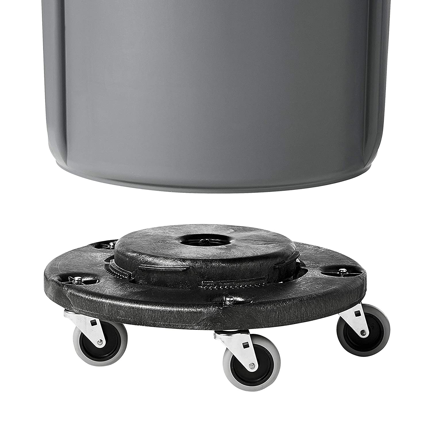 Black Pack of 2 Rubbermaid Commercial Products FG264000BLA Brute Twist on//Off Round Dolly Renewed