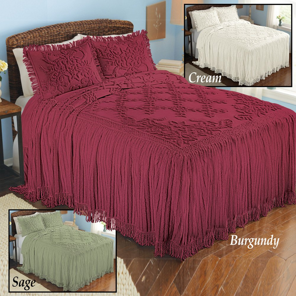 Collections Etc Romantic Floral Lattice Chenille Lightweight Bedspread with Fringe Edging, Cream, Full by Collections Etc (Image #4)