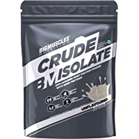 Bigmuscles Nutrition Crude Isolate 1kg, Whey Protein Isolate with Whey Peptides, 26g Protein, 0g Sugar, 1g Added Leucine, 5.5g BCAA, 4g Glutamine, No Preservatives, Unflavored