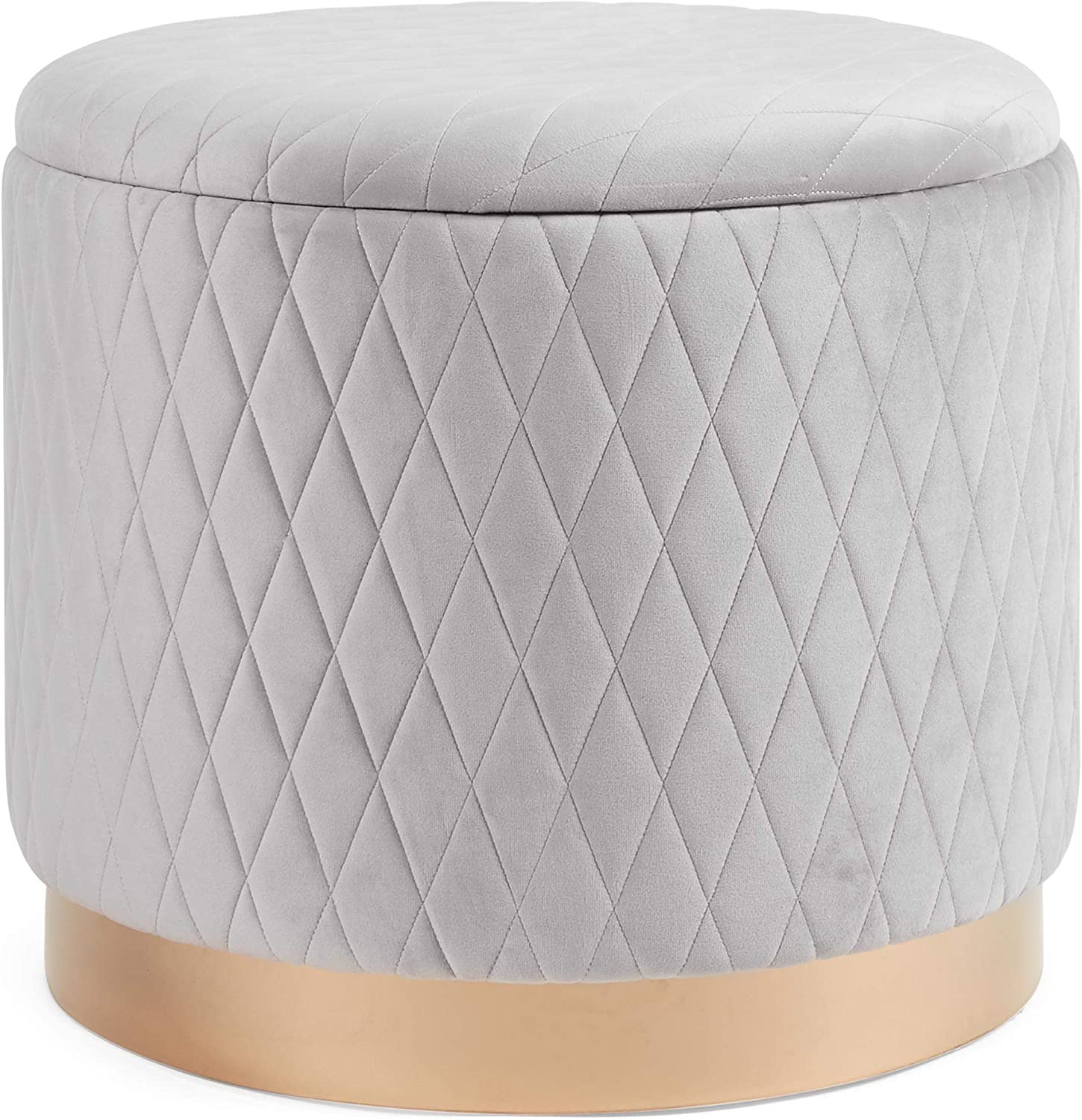 Ottoman Footstool Storage Round Quilted Pouffe Stool Upholstered Footrest /& Lid