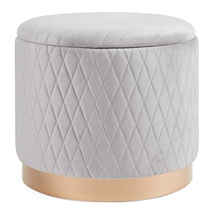 Enjoyable Beautify Quilted Storage Stool Grey Velvet Round Ottoman Pouffe Box Footrest Dressing Table Seat Pabps2019 Chair Design Images Pabps2019Com