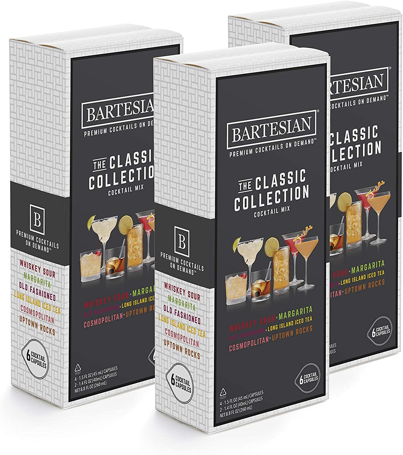Bartesian The Classic Collection Cocktail Mixer Capsules, Variety Pack of 18 Cocktail Capsules, for Bartesian Premium Cocktail Maker (55401)