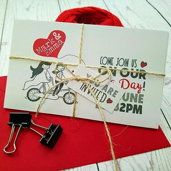 Personalizable rojo Corazones de amor vintage para bicicleta los amantes de los Tri plegable invitación de boda - boda invitar a diseño de corazones boda ...