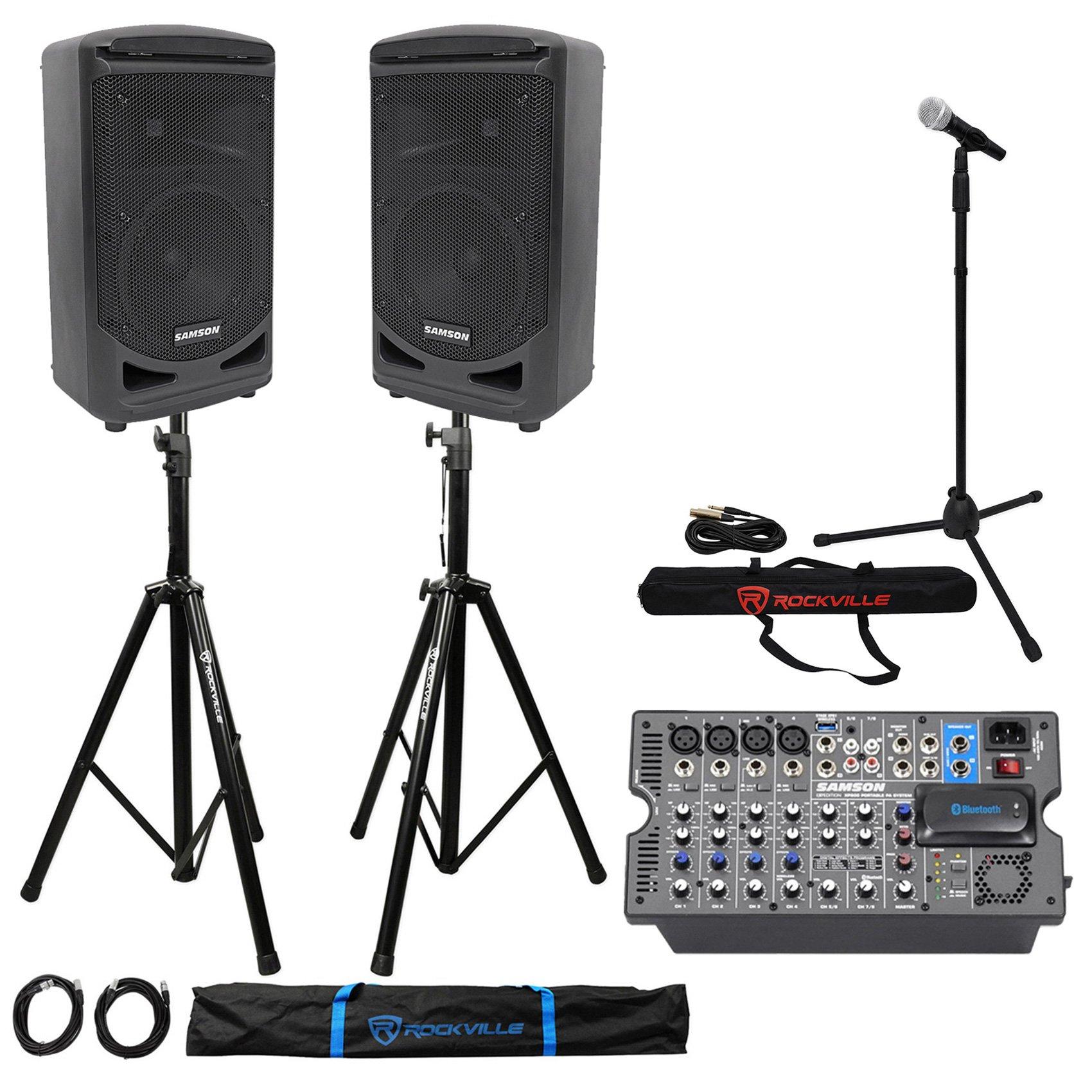 Samson Church/School Portable 8'' Audio Visual Speaker Sound System + Mic + Stand by Samson Technologies
