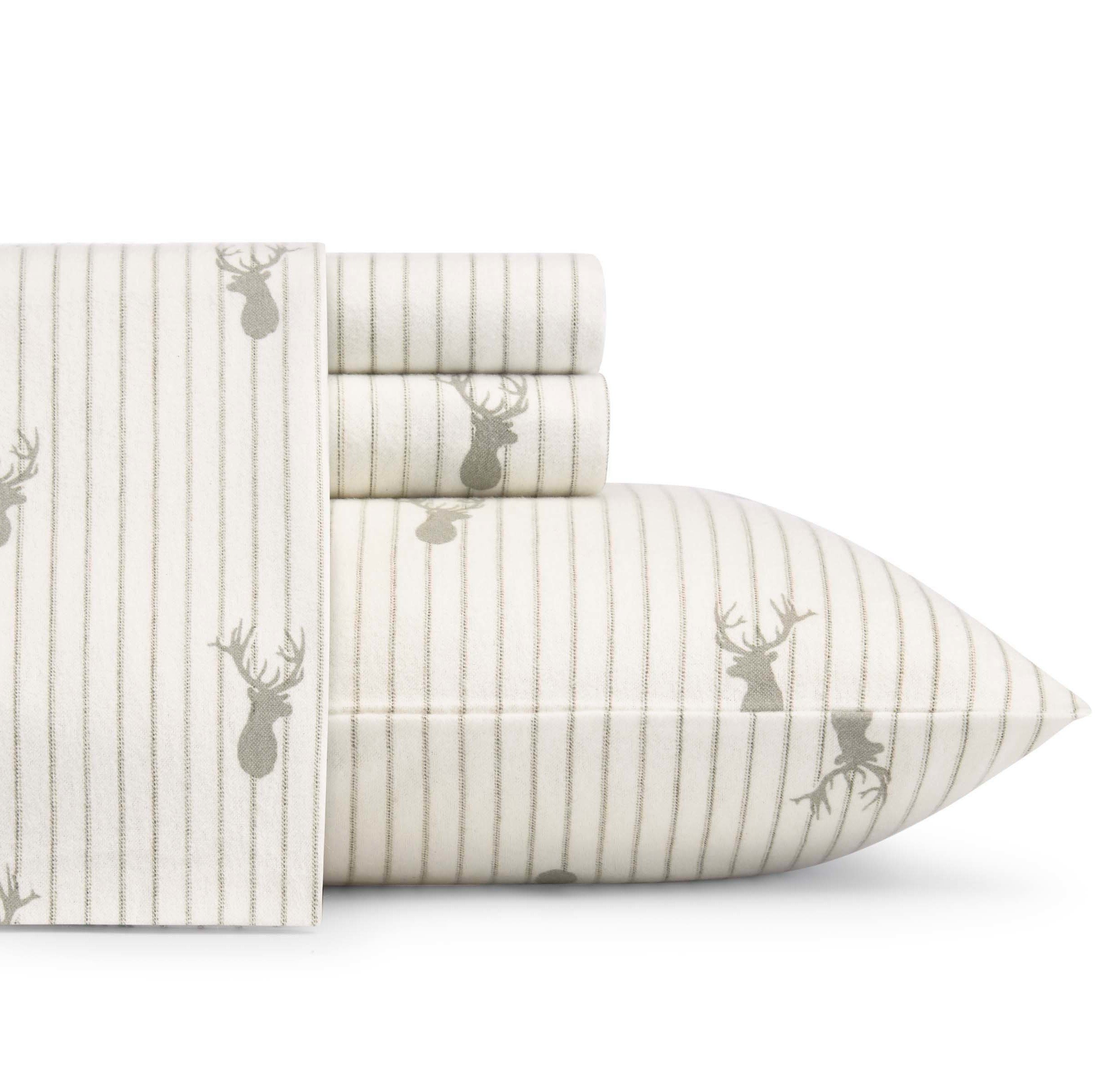D&A 4 Piece Grey Ivory Deer Lodge Theme Sheets Queen Set, Beautiful Forest Wild Animal Hunting Cottage, Stripes Print, Fully Elasticized Fitted, Deep Pocket, Cotton Flannel