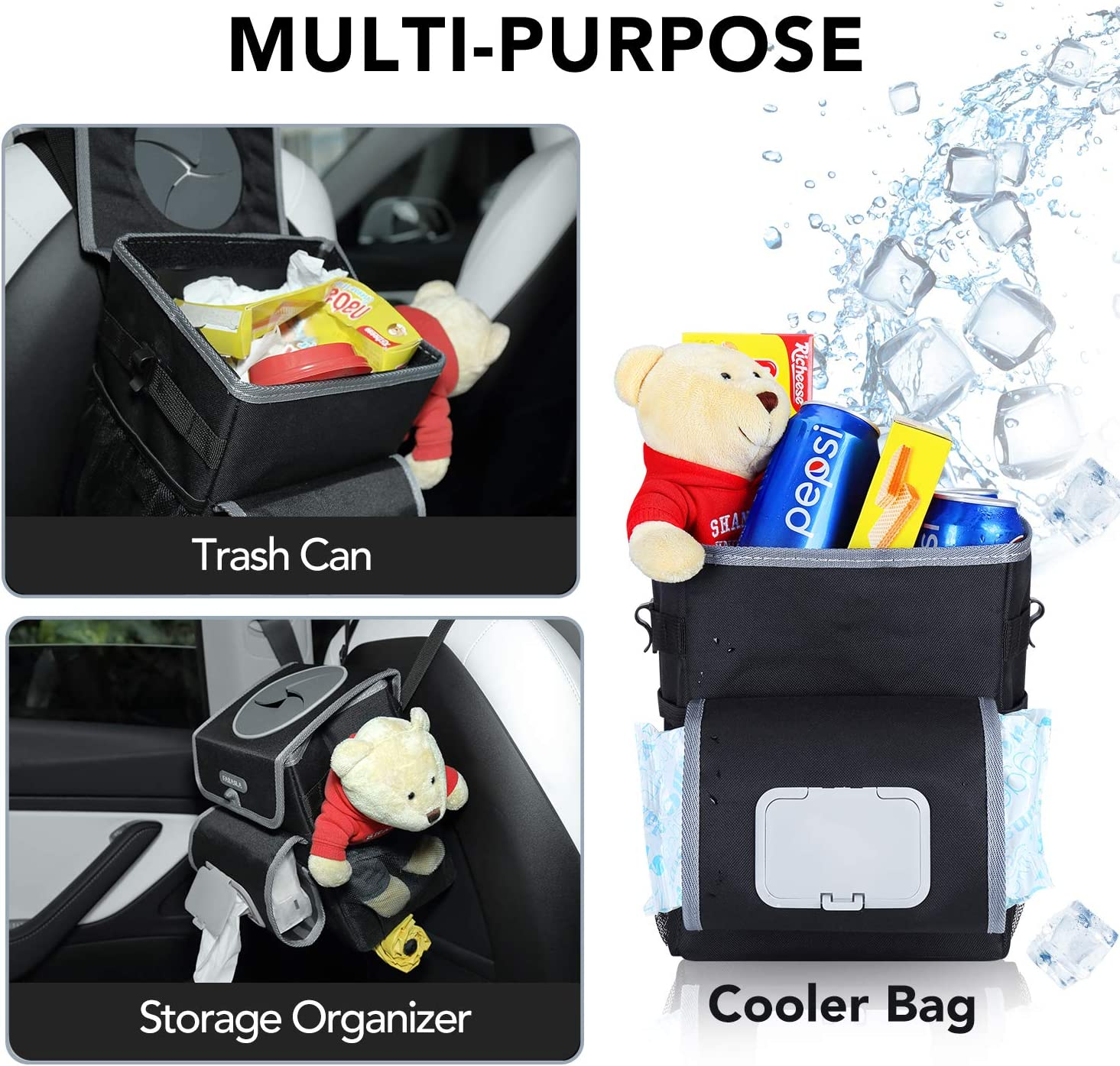 Farasla All-in-One Car Trash Can with 2 Removable Leakproof Interior Liners Adjustable Tissue Holder /& Straps