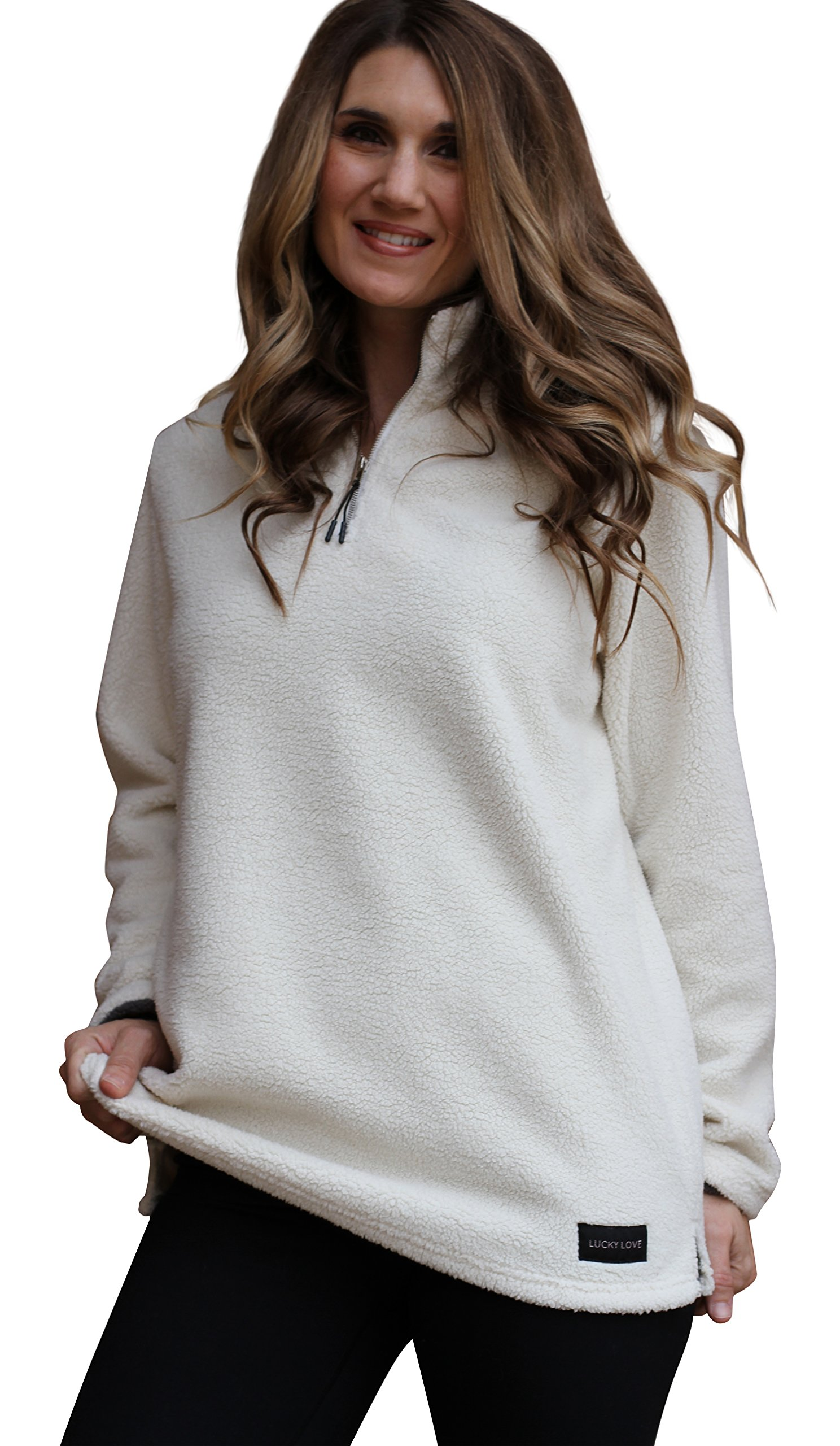 Lucky Love Womens Fleece Pullover Jacket, Half Zip Relaxed Fit, Womens & Plus Size White X-Large