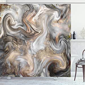 Ambesonne Marble Print Shower Curtain Retro Style Paintbrush Colors In Marbling Texture Watercolor Artwork Cloth Fabric Bathroom Decor Set With Hooks 70 Long Sand Brown Pale Grey Home Kitchen Amazon Com