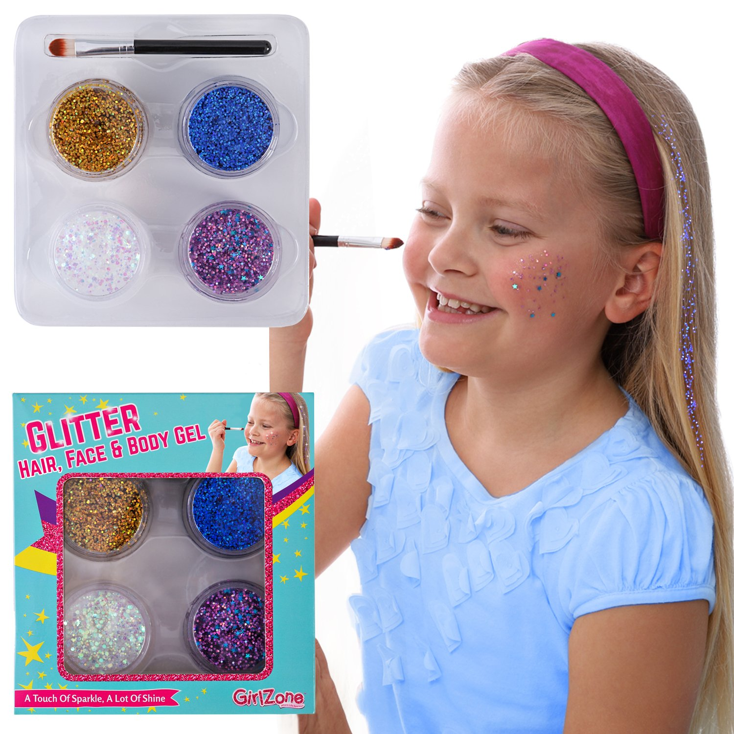 GirlZone GIFTS FOR GIRLS: Face, Hair & Body Cosmetic Glitter Makeup. Great Gift, Birthday Present Idea For Girls 4 5 6 7 8 9 10 years old plus. by GirlZone (Image #8)