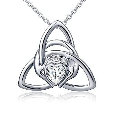 Amazon 925 sterling silver irish claddagh celtic knot love 925 sterling silver irish claddagh celtic knot love heart pendant necklace 18quot aloadofball