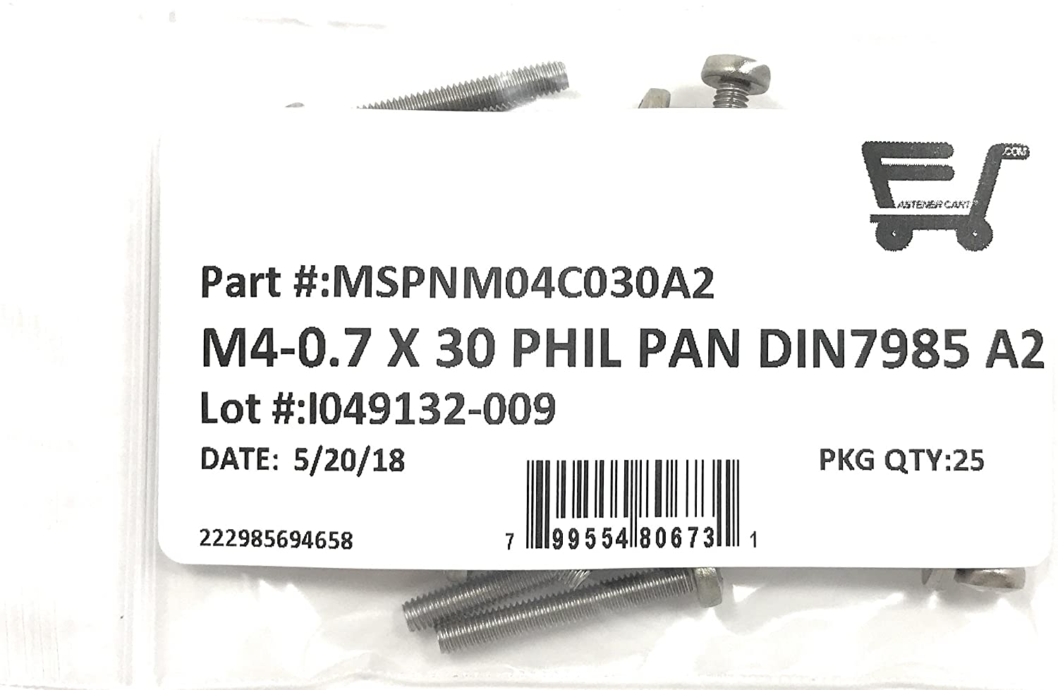 M4-0.7 x 30 Stainless Steel Phillips Pan Head Machine Screw DIN7985 A2 M4x30 25 Pieces
