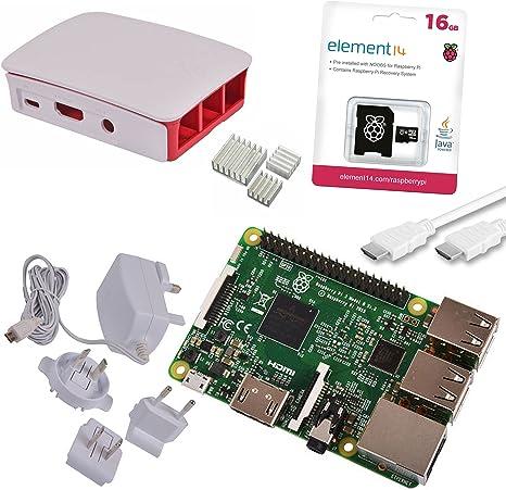 Melopero Raspberry Pi 3 Official Starter Kit White, con Cargador Oficial, Caja Oficial, microSD Oficial de 16GB con Noobs, Cable HDMI y disipadores: Amazon.es: Informática