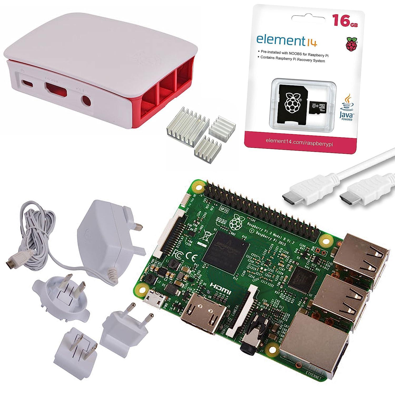 Melopero Raspberry Pi 3 Official Starter Kit White, con Cargador Oficial, Caja Oficial, microSD Oficial de 16GB con Noobs, Cable HDMI y disipadores