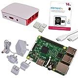 Raspberry Pi 3 Official Starter Kit White avec Chargeur Officiel, Boitier Officiel, câble HDMI, Dissipateurs et microSD Officiel 16 Go avec NOOBS