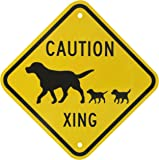 "SmartSign 3M Engineer Grade Reflective Sign, Legend ""Caution: Xing"" with Graphic, 12"" square, Black on Yellow"