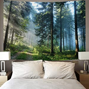 """Urblapow Forest Tapestry Wall Nature Decor Tapestry Wall Hanging Tree Theme Wall Tapestry for Bedroom Living Room (82""""×59"""")"""