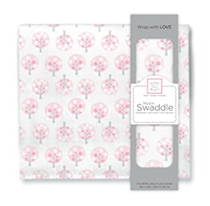 SwaddleDesigns Cotton Muslin Swaddle Blanket, Pink Cherry Trees