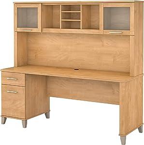 Bush Furniture Somerset 72W Office Desk with Hutch in Maple Cross