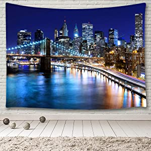 MINAKO New York Cityscape Decor Tapestry,Brooklyn Bridge and Manhattan Skyline at Night Urban Skyscrapers NYC High Buildings Reflections Over East River,Tapestry Wall Hanging for Home Decoration