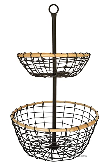 Amazon.com: American Chateau Metal Wire U0026 Rattan 2 Tier Onions/Potato Storage  Basket Stand Carrier Caddy: Home U0026 Kitchen