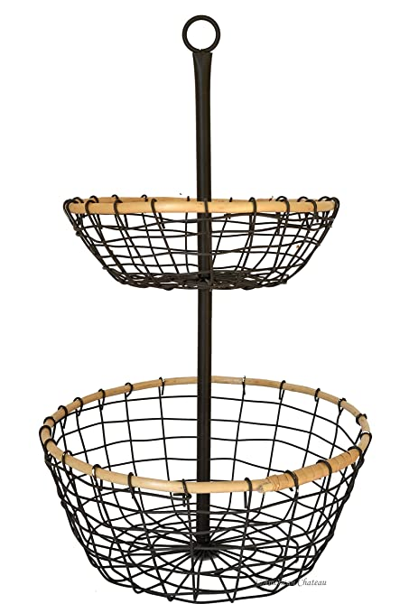 Awesome Amazon.com: Metal Wire U0026 Rattan 2 Tier Onions/Potato Storage Basket Stand  Carrier Caddy: Home U0026 Kitchen