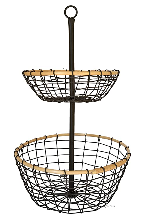 Superieur American Chateau Metal Wire U0026 Rattan 2 Tier Onions/Potato Storage Basket  Stand Carrier