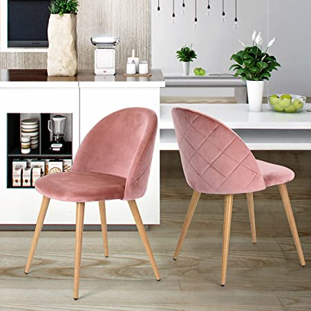 Coavas Dining Chairs Set of 2 Soft Velvet Seat and Back with Wooden ...