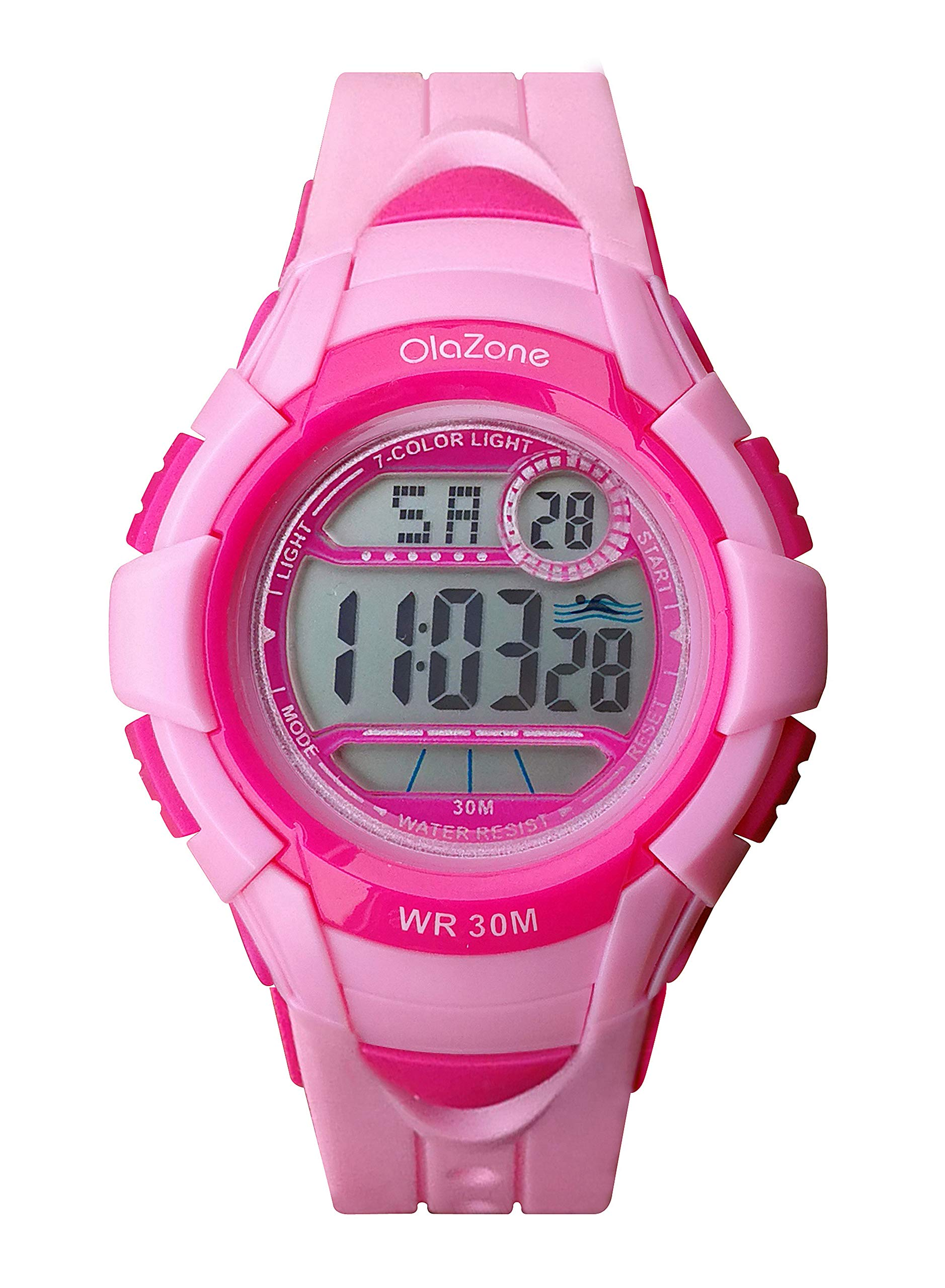 Kids Watch Girls Boys Digital Sports 7-Color Flashing Light Water Resistant 100FT Alarm Gifts for Girls Boys Age 7-10 (Pink) by OLAZONE