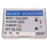 Pack of 20 Pcs BOJACK T1.5AL250V 5x20mm 1.5A 250V Slow Blow Fuses 1.5 amp 250 Volt 0.2 x 0.78 Inch Glass Tube Time-delay Fuses