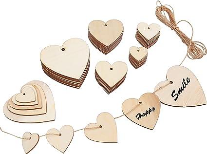 Embellissement Coeur en Bois Artisanat Décoration de Mariage Craft Scrapbooking