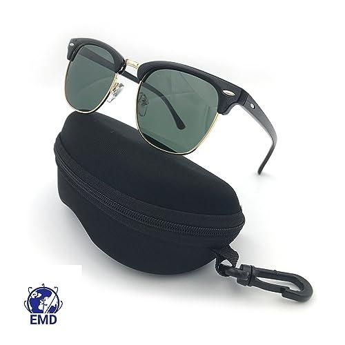 EMD Gafas de sol polarizadas, diseño vintage, estilo Clubmaster, unisex, protección UV 400, cristale...