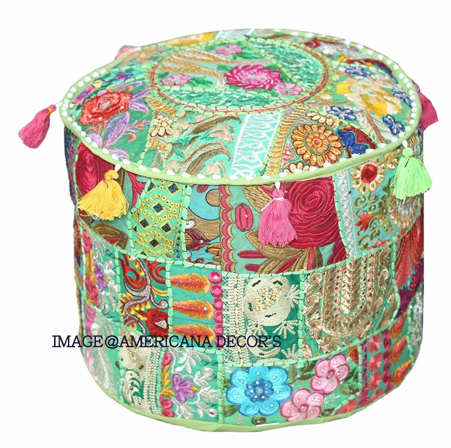 Americana decor's Bohemian Patchwork Ottoman Cover vintage Traditional indian pouf cover ''14x22'' cotton decorative chair ''Filler Not Inculded'' (Green)