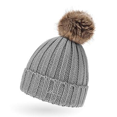 Strickmütze einfarbig Bommel Mütze Strick Einheitsgröße Winter bunt weich warm