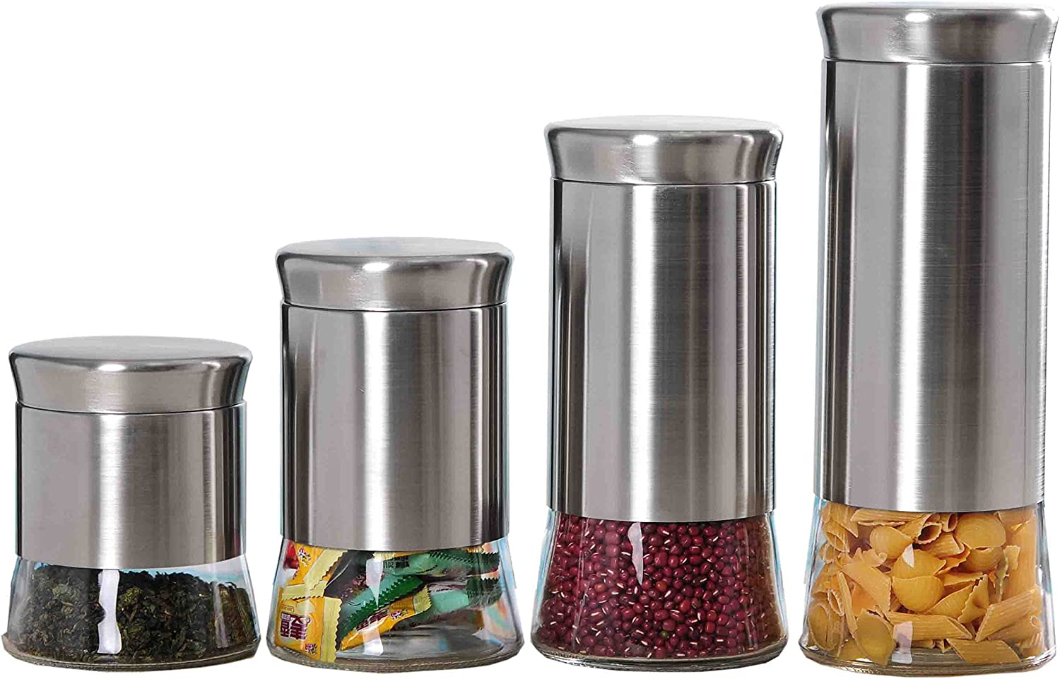 Home Basics 4 Piece Essence Food Storage Decorative Brushed Stainless Steel Glass Canister Set, Silver
