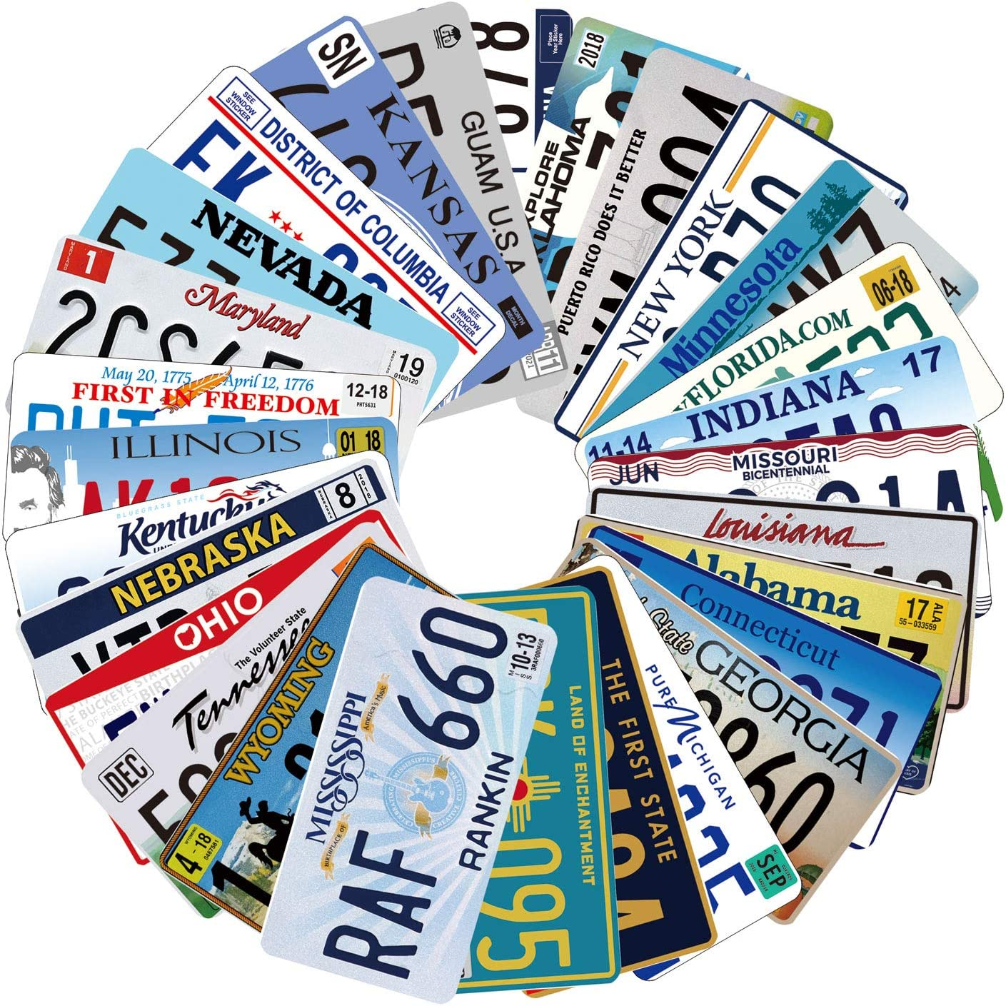 Assorted Replica License Plates, Prop Number Tags, Man Cave Garage Bar Decor, 6x12 inches (10 pcs)