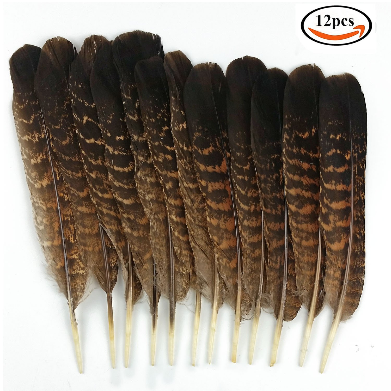 JPSOR 12 Pezzi di piume in colore naturale da 15-20cm, per decorazione di artigianato