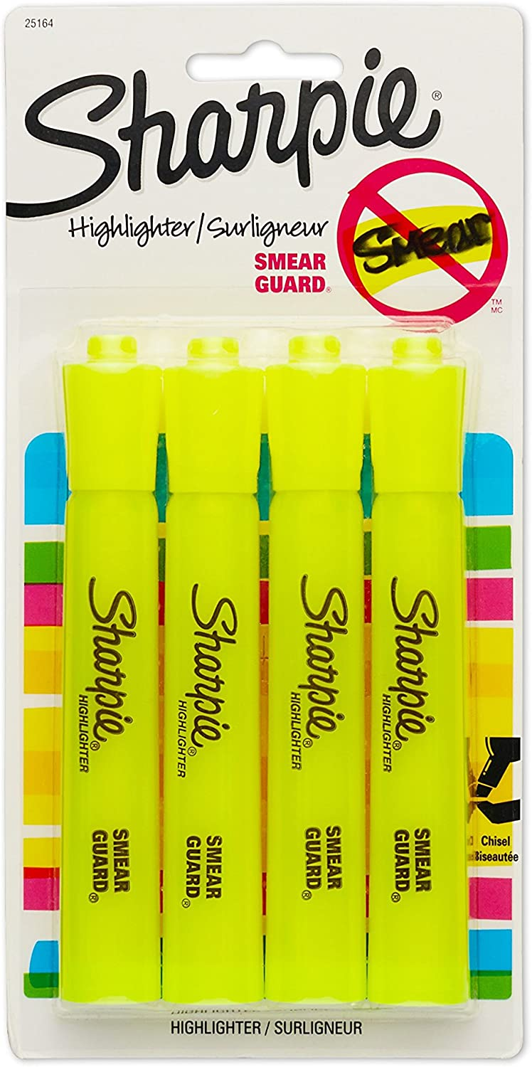 Sharpie 25164PP Accent Tank Highlighters, Chisel Tip, Fluorescent Yellow, 4-Count
