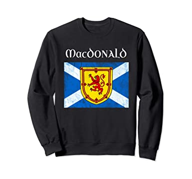 49866d7df Unisex MacDonald Clan Scottish Name Sweatshirt Scotland Flag 2XL Black