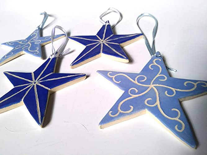 Amazon Com Hand Carved Star Ornaments Stoneware Ceramic Christmas