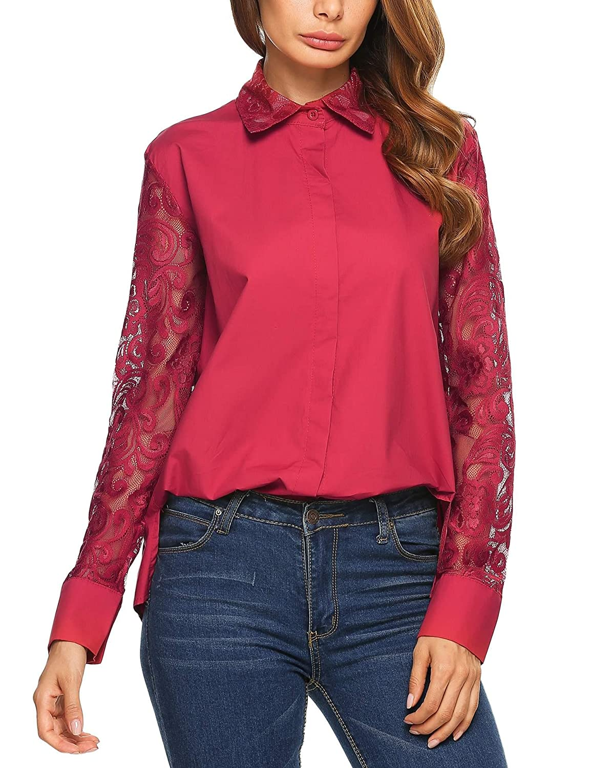 1930s Style Tops, Blouses & Sweaters Corgy Women Casual Lace Patchwork Long Sleeve Turn-Down Collar Button Down Blouse Shirts $19.99 AT vintagedancer.com