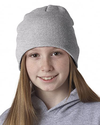 58797d9cbca Amazon.com  Ultraclub Unisex-child Knit Beanie 8131 -Ash One  Clothing