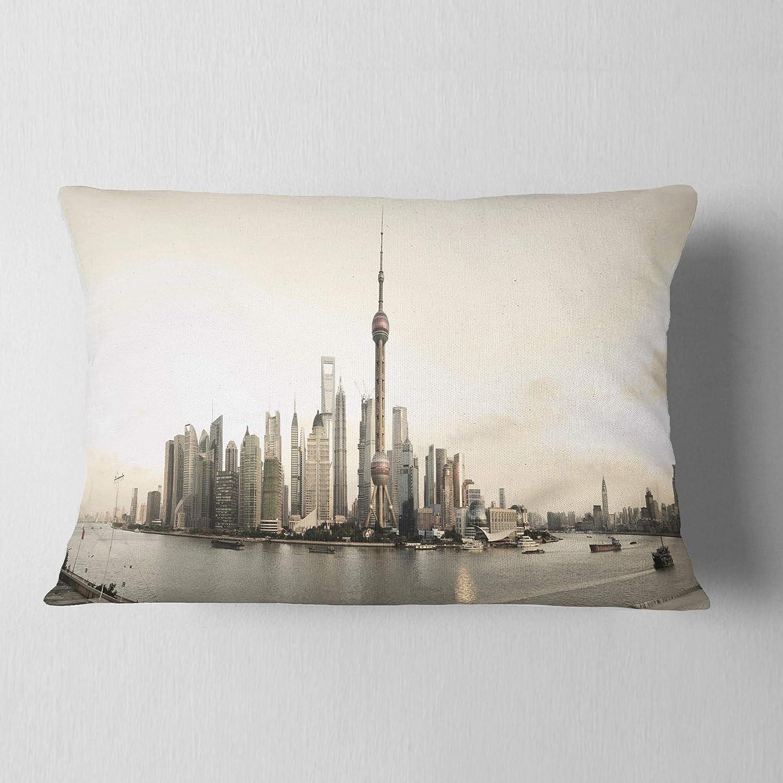 Designart Cu7219 12 20 Shanghai S Modern Architecture Cityscape Photo Throw Pillow 12 X 20
